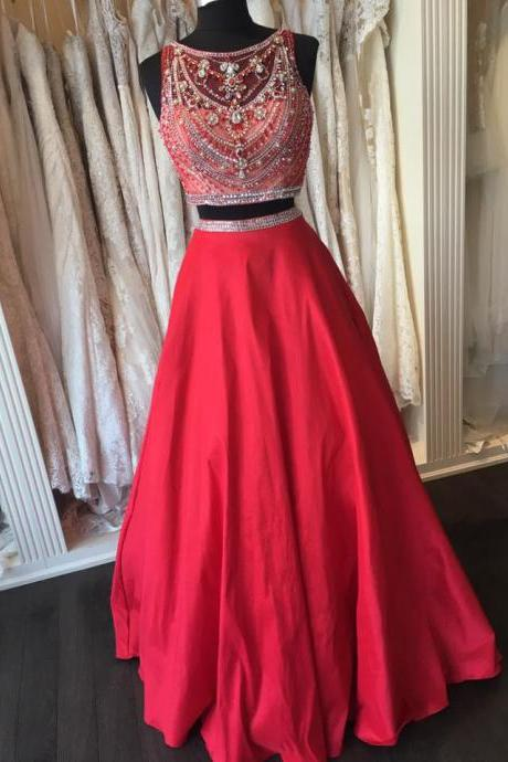 Red Taffeta Beaded Top 2 Pieces Prom Dress,Shinny two pieces formal dress,2017 Prom Dress,2245