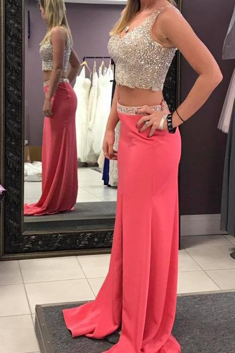 Beaded Bodice Two Pieces Prom Dresses,2 Pieces Prom Gowns,Senior Prom Formal Dress,2270
