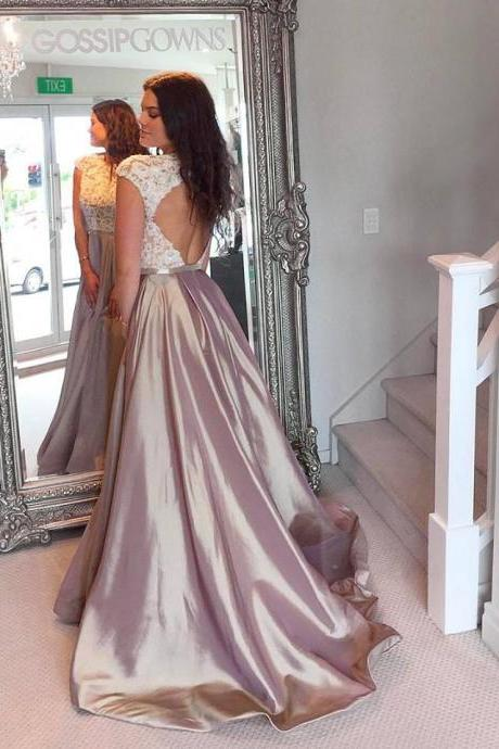 Lace Bodice Taffeta Skirt Open back Prom Dresses with Cap Sleeves,Long Formal Dresses,Senior Prom 2017 Pageant Gowns,2299