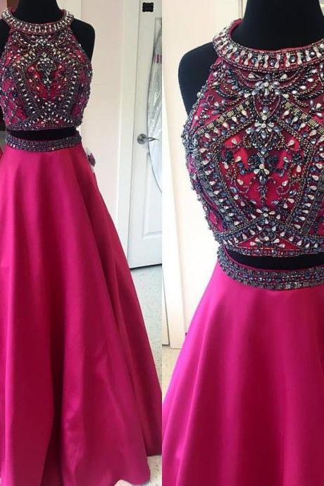 Fuchsia Satin Skirt Beaded Top Sparkly Prom Dresses,2 Pieces Prom Dresses,2017 Prom Dresses,2308