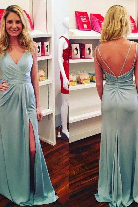 Spaghetti Strap V-neck Satin Prom Dresses with Slit,Long Bridesmaid Dresses,Cheap Dresses for Bridesmaid,2313