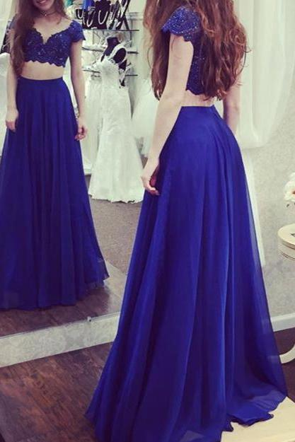 Lace Top Royal Blue 2 Pieces Prom Dresses,Cap Sleeve two pieces fancy dresses,2383