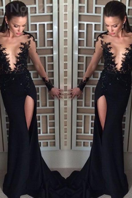 See-through Bodice Black Prom Dresses,Long Sleeves Lace Appliqued Mermaid Prom Dresses with Slit,2385