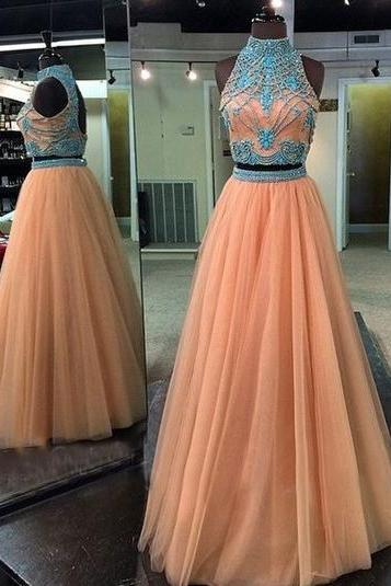 A-line Champagne Tulle with Turquoise Rhinestone Beaded 2 Pieces Prom Dresses,Halter High Neck Fancy Dresses,2386