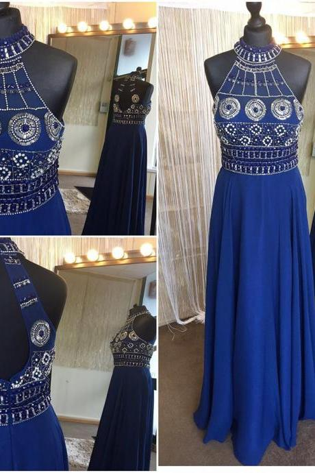Halter High Neck Royal Blue Boho Prom Dresses,Sparkly Beaded Long Fancy Dresses,2388