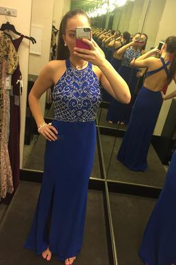 Halter Royal Blue Jersey Long Prom Dress with Slit,Sexy Backless Senior Prom Formal Gowns,2448