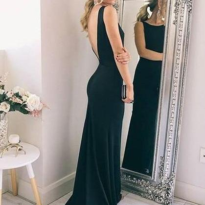 2018 Scoop Neck Sheath Prom Dresses, Sexy Backless Prom Dresses for Autumn ASD2684