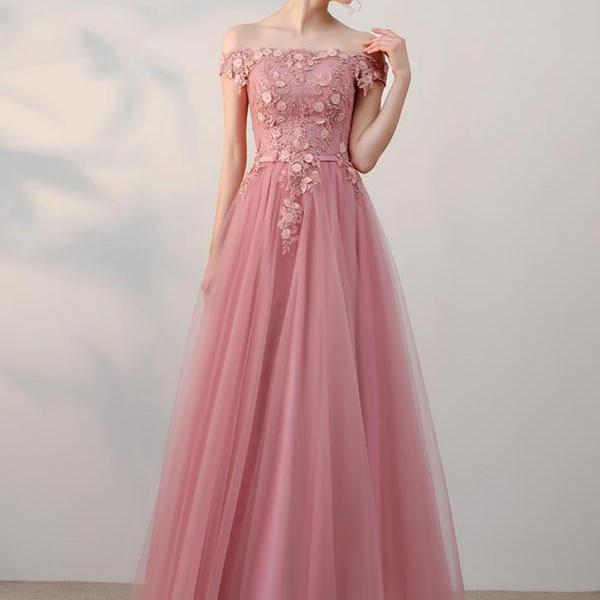 A-line Princess Off-the-Shoulder Appliques Wedding Dresses, Floor Length Prom Dresses ASD26776
