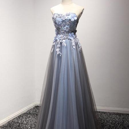 A-line Princess Sweetheart Neck Appliques Prom Dresses, Floor Length Grey Prom Dresses ASD26778
