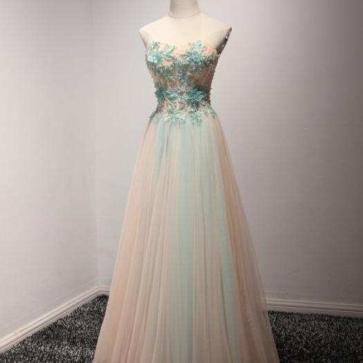 A-line Princess Sweetheart Neck Tulle Prom Dresses with Blue Appliques, Floor Length Prom Dresses ASD26777