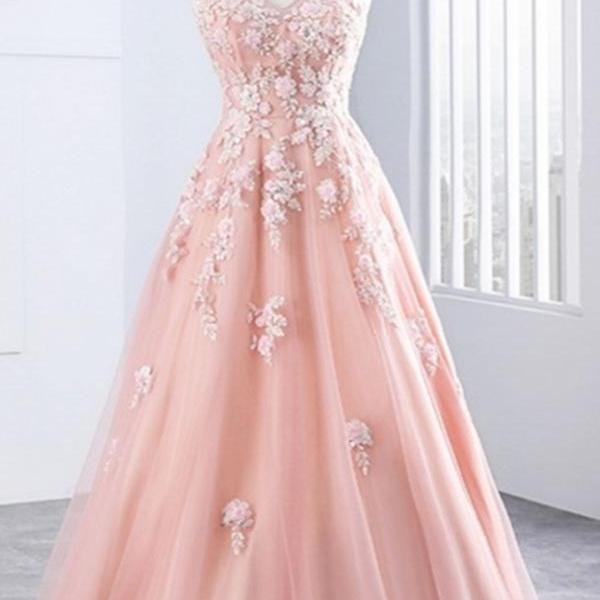 2017 A-line Princess V Neck Appliques Sleeveless Floor Length Prom Dresses ASD26941