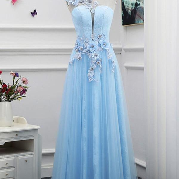 2017 A-line Princess Scoop Neck Appliques Sleeveless Floor Length Prom Dresses ASD26942