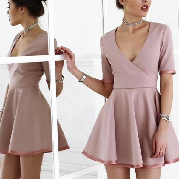 Chic Satin V-neck Neckline Short Sleeves A-line Homecoming Dresses HD316