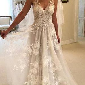 Eye-catching Tulle A-line Wedding Dresses With Appliques WD184