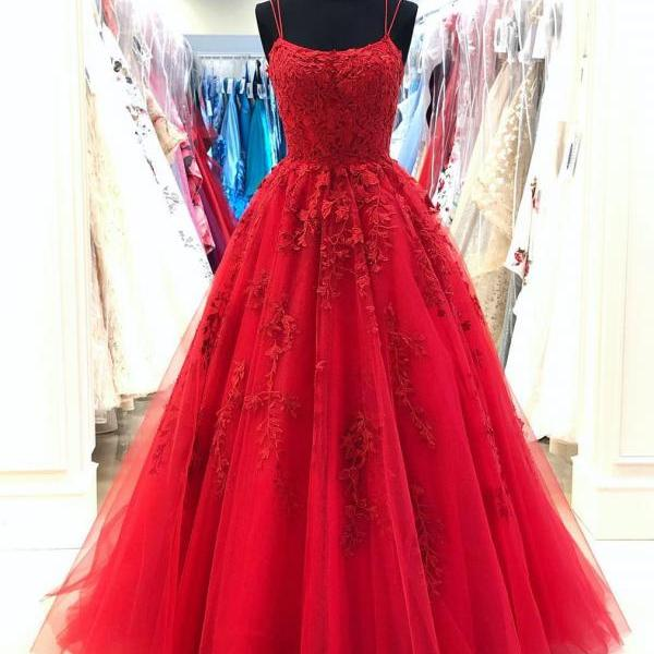 Spaghetti Straps A-line Prom Dresses Tulle Appliqued Evening Gowns PD436