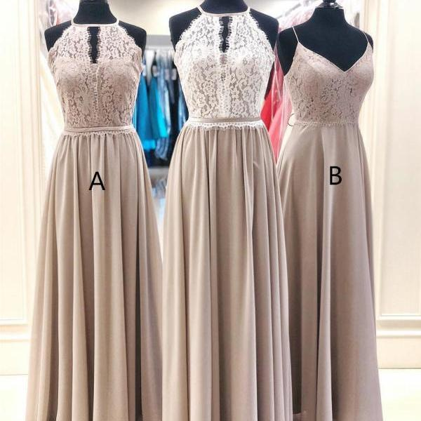 Halter Lace A-line Prom Dresses Chiffon Long Evening Gowns PD435