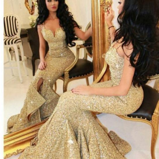 Spaghetti Strap Gold Sequins Lace Mermaid Prom Dress,2016 Evening Dresses,Sweep Train Formal Dresses 1719