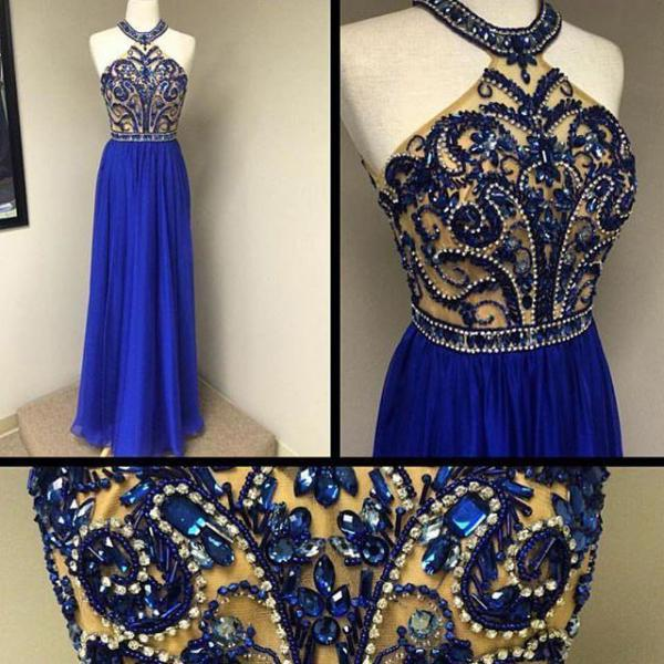 Royal Blue Chiffon Skirt Beaded Bodice Halter Prom Dresses,Long 2016 Formal Dresses 1713