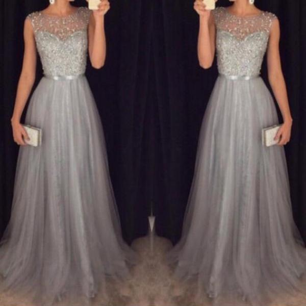 Gray Tulle Prom Dresses,Beaded Bodice Prom Dresses,2016 Long Prom Formal Dress 1715