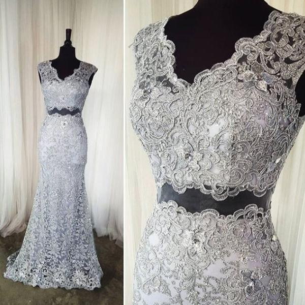 2 Piece Prom Dress,Gray Lace Prom Dress,Long Formal Dress with Sweep Train 1716