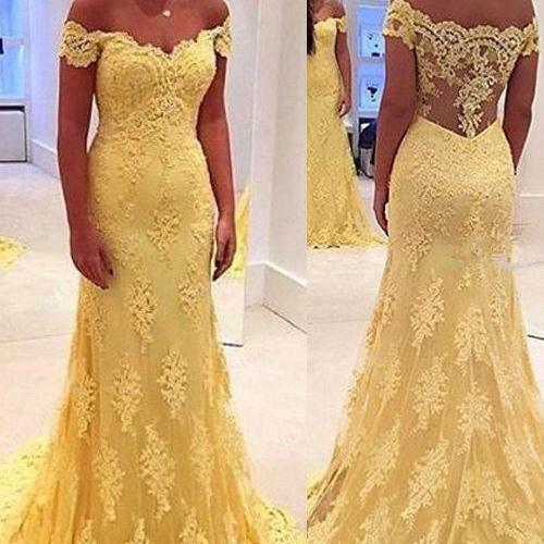 Sheath Off Shoulder Prom Dress,Lace 2016 Prom Dress with Sweep Train,Long Yellow Formal Dress for Prom 1720