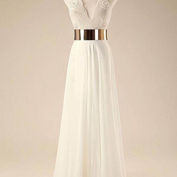 A-line White Long Prom Dresses,Beaded Bodice Gold Sash Beach Wedding Dresses,Shinny Formal Party Dresses