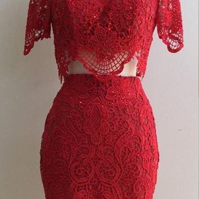 Two Piece Homecoming Dresses,Burgundy Lace Hoco dresses,simple short prom dresses with sleeves,1872