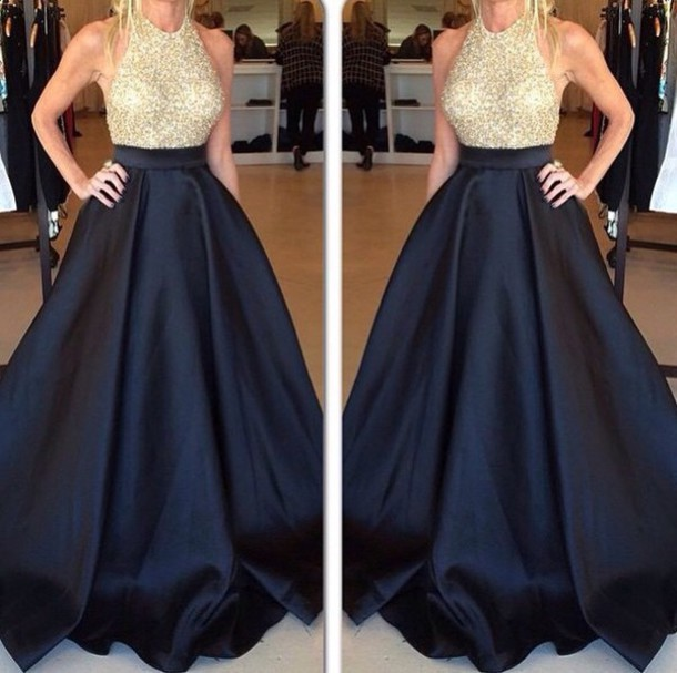 Gold Beaded Bodice Black Taffeta Skirt Poofy Prom Dress,Halter 2016 ...